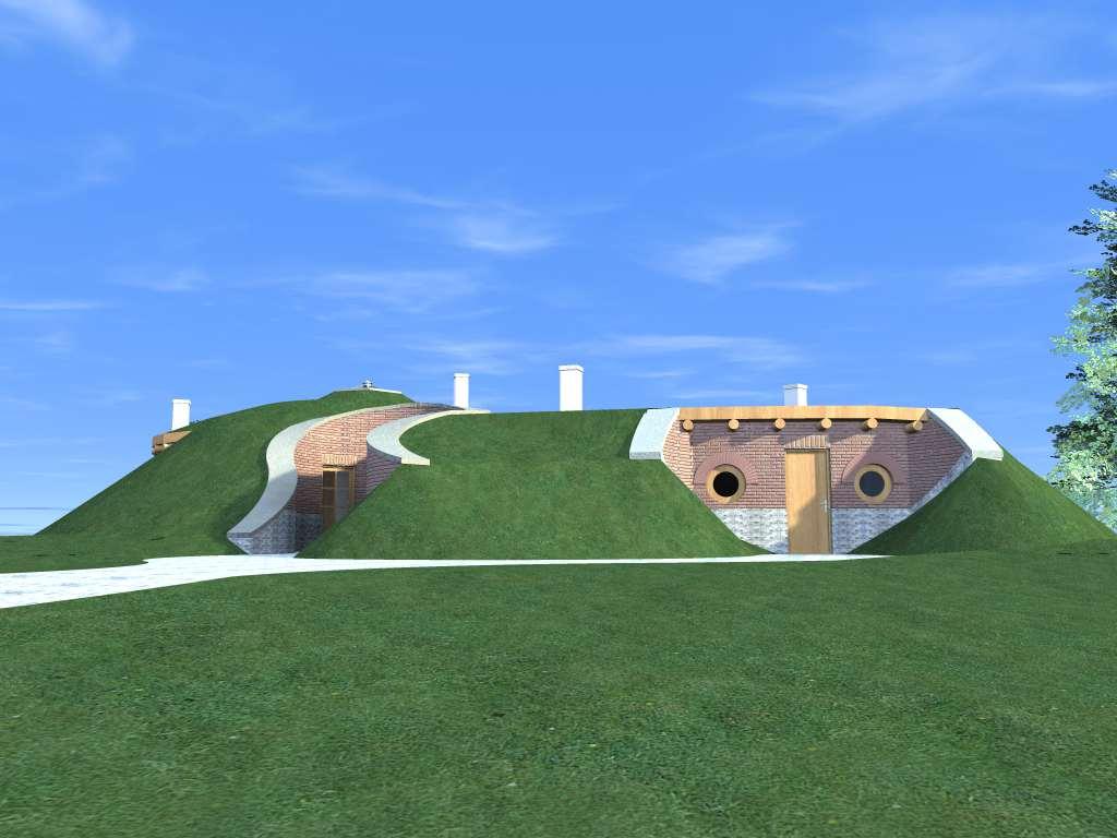 Autonóm földház - hátsó homlokzat
