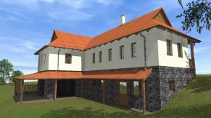 Parasztház felújítás/átalakítás terve - Hollókő - kert felőli oldal